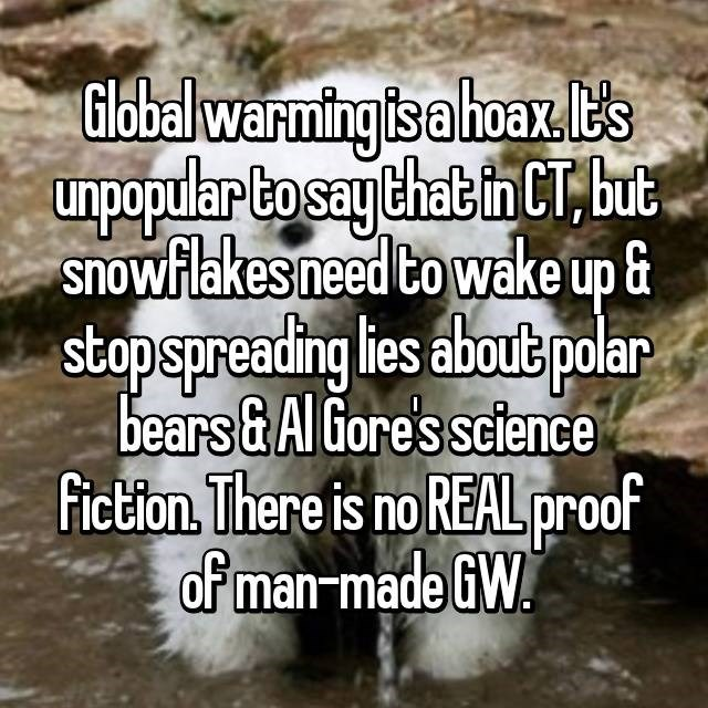 Text - Global warming is a hoax E's unpopular to say that in CT but snowflakes need to wake up & stopspreading lies about polar bears&Al Gore's science Fiction. There is no REAL proof of man-made GW.