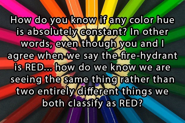 Philosophy meme asking if we all see the same colors, or different colors we use the same name for?