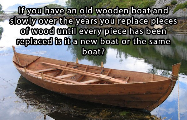riddle about a wooden boat is a replica or restored and and what point does it cross that line