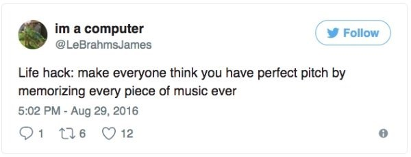 Text - im a computer Follow @LeBrahmsJames Life hack: make everyone think you have perfect pitch by memorizing every piece of music ever 5:02 PM-Aug 29, 2016 1 t6 12