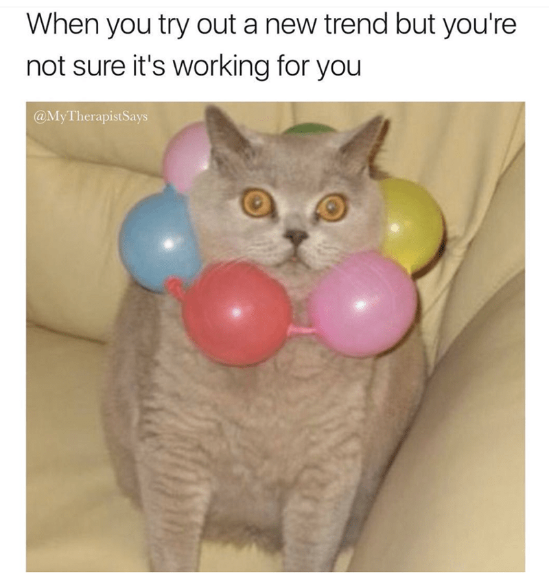 Cat - When you try out a new trend but you're not sure it's working for you @MyTherapistSays