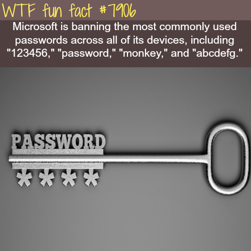 """Text - WTF fun fact #7100 Microsoft is banning the most commonly used passwords across all of its devices, including """"123456,"""" """"password,"""" """"monkey,"""" and """"abcdefg."""" PASSWORD"""