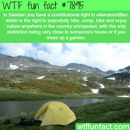 Mountainous landforms - WTF fun fact # 785 in Sweden you have a constitutional right to allemansrätten, which is the right to peacefully hike, camp, bike and enjoy nature anywhere in the country unimpeded, with the only restriction being very close to someone's house or if you mess up a garden. wtffunfact.com