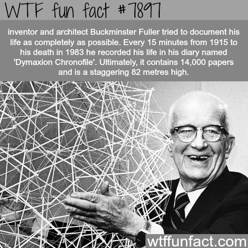 Text - WTF fun fact # 1811 inventor and architect Buckminster Fuller tried to document his life as completely as possible. Every 15 minutes from 1915 to his death in 1983 he recorded his life in his diary named 'Dymaxion Chronofile'. Ultimately, it contains 14,000 papers and is a staggering 82 metres high. wtffunfact.com