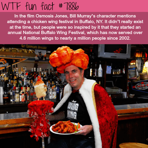 Food - WTF fun fact # 188 In the film Osmosis Jones, Bill Murray's character mentions attending a chicken wing festival in Buffalo, NY. It didn't really exist at the time, but people were so inspired by it that they started an annual National Buffalo Wing Festival, which has now served over 4.6 million wings to nearly a million people since 2002. Cu A BRES WNG KING