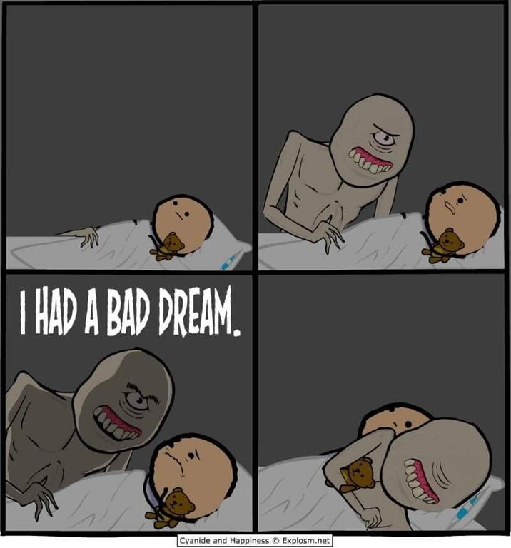 Funny web comic about a monster having a nightmare and getting into a kids bed.