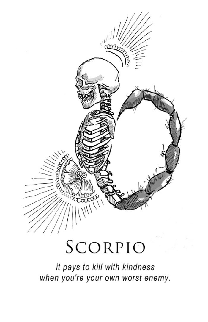 Line art - SCORPIO it pays to kill with kindness when you're your own worst enemy