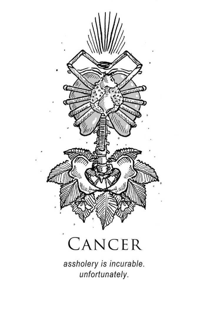 Line art - CANCER assholery is incurable unfortunately