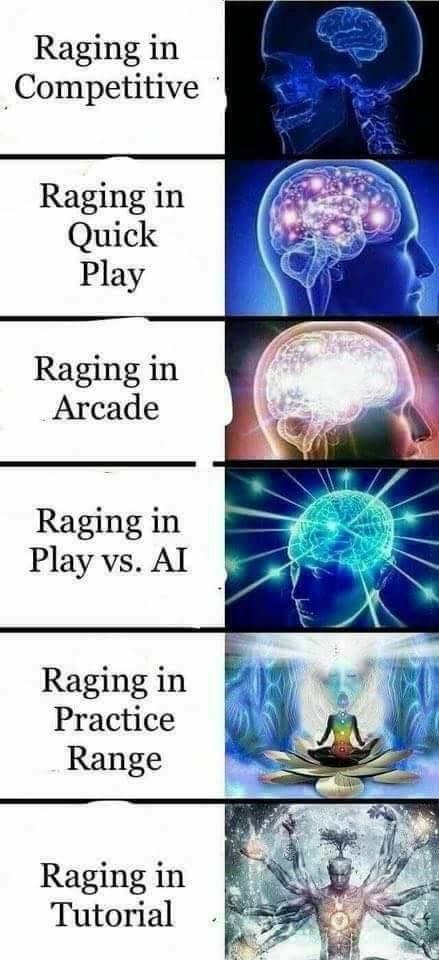 Expanding brain meme about raging
