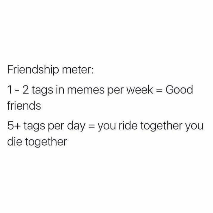 Meme about rating friendship based on how many times they tag you in a meme.