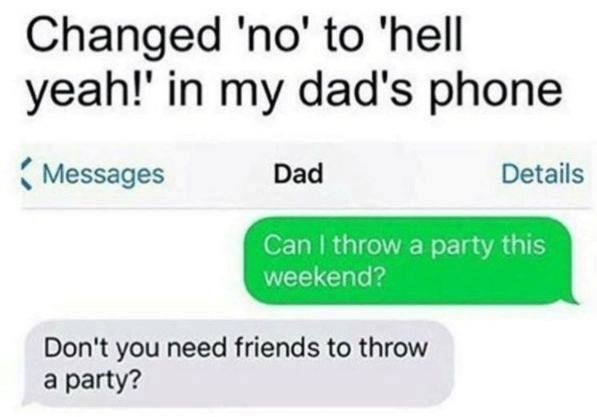 Funny DM of someone who changed NO to Hell Yeah on his dad's phone, asks for a party and gets question about if he has enough friends for the party.