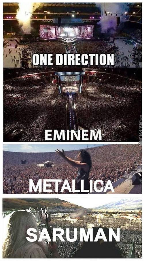 Meme about different bands and their crowd sizes, and then Saruman.