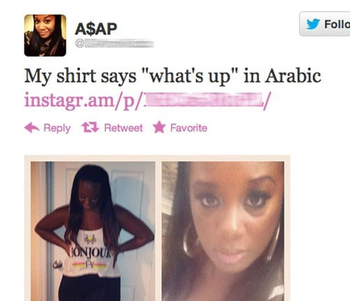 "Hair - Folla A$AP My shirt says ""what's up"" in Arabic instagr.am/p/ Reply Retweet Favorite CONJOUK"
