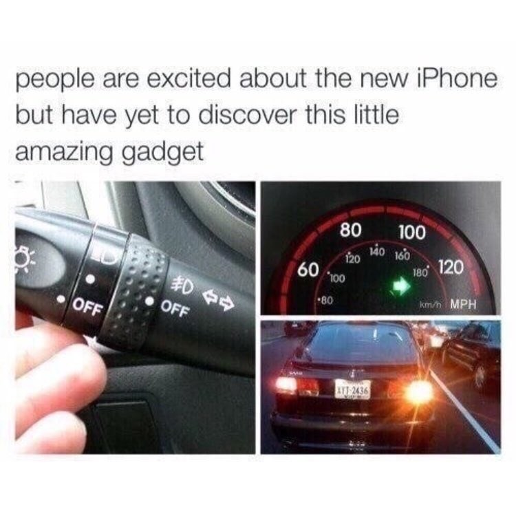 Funny meme about driving and not using turn signal.