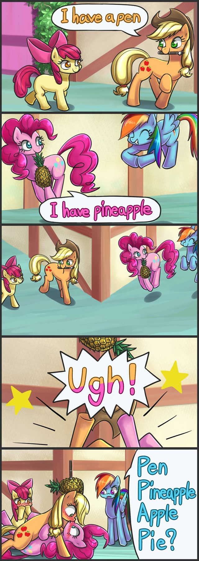 shipping applejack kitten tail apple bloom puns pinkie pie pen pineapple apple pen comic - 9075198720