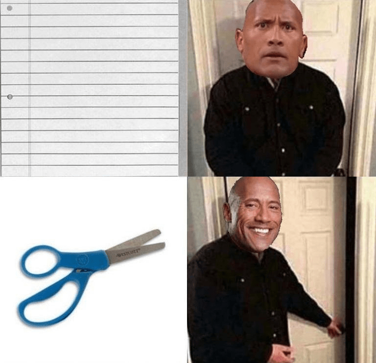 Funny meme about The Rock, paper and scissors.
