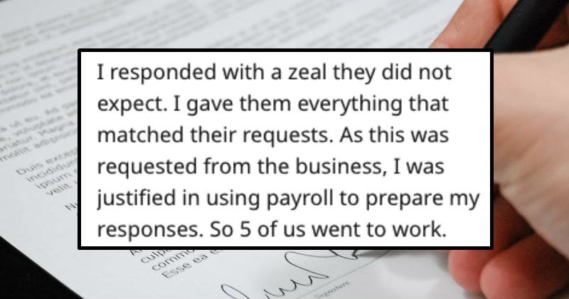 Guy gets revenge on unfair divorce request by sending tons of paperwork.