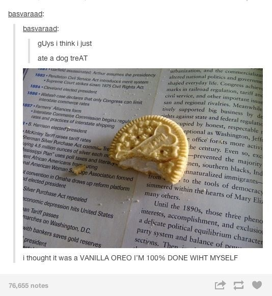 picture half biscuit on open book funny tumblr post guys i think i just ate a dog treat i thought it was a vanilla oreo i'm 100% done wiht myself