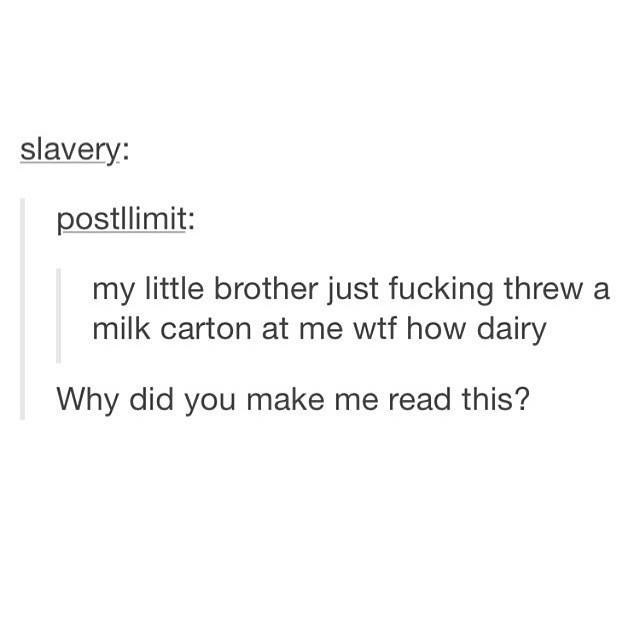 funny tumblr post my little brother just fucking threw milk carton at me wtf how dairy Why did you make me read this?