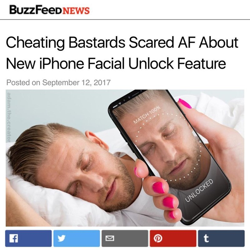 Text - BuzzFeeDNEWs Cheating Bastards Scared AF About New iPhone Facial Unlock Feature Posted on September 12, 2017 MATCH 100% UNLOCKED t adam. the.creator