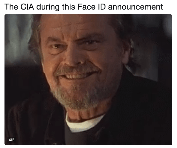 Forehead - The CIA during this Face ID announcement GIF