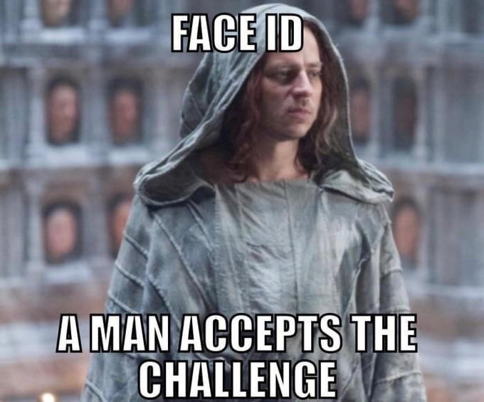 Photo caption - FACEID A MAN ACCEPTSTHE CHALLENGE