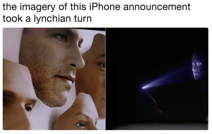 Face - the imagery of this iPhone announcement took a lynchian turn