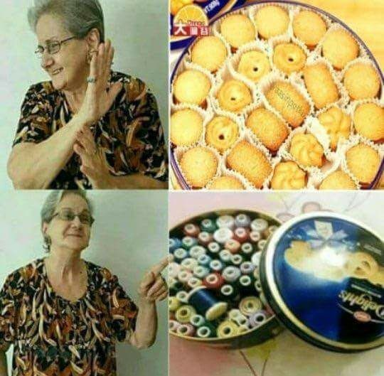 Funny meme about grandmas using cookie tins for stuff in their houses.