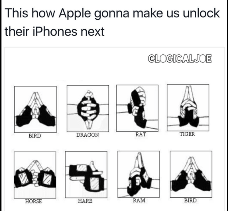 Meme poking fun at how Apple will next want us to open your iphones using gang signs and sign language.