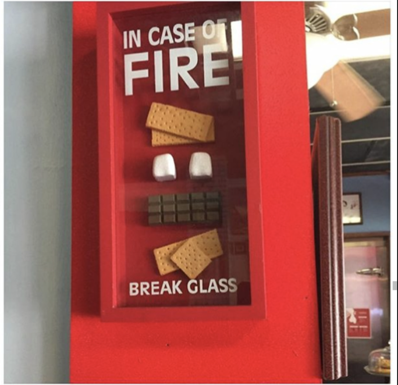 Glass to be broken in the event of fire, inside are graham crackers, chocolates, and marshmallows.