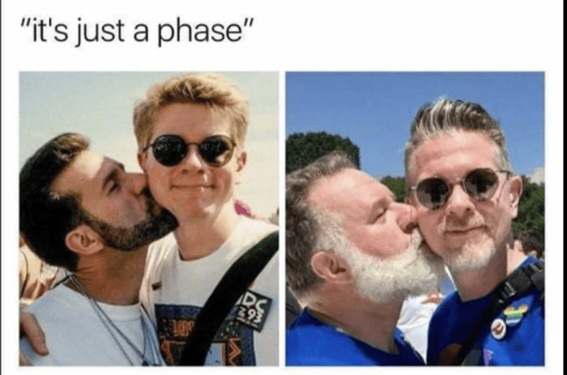 "Meme of ""it is just a phase"" with young gay couple and the same couple much older in the same pose."