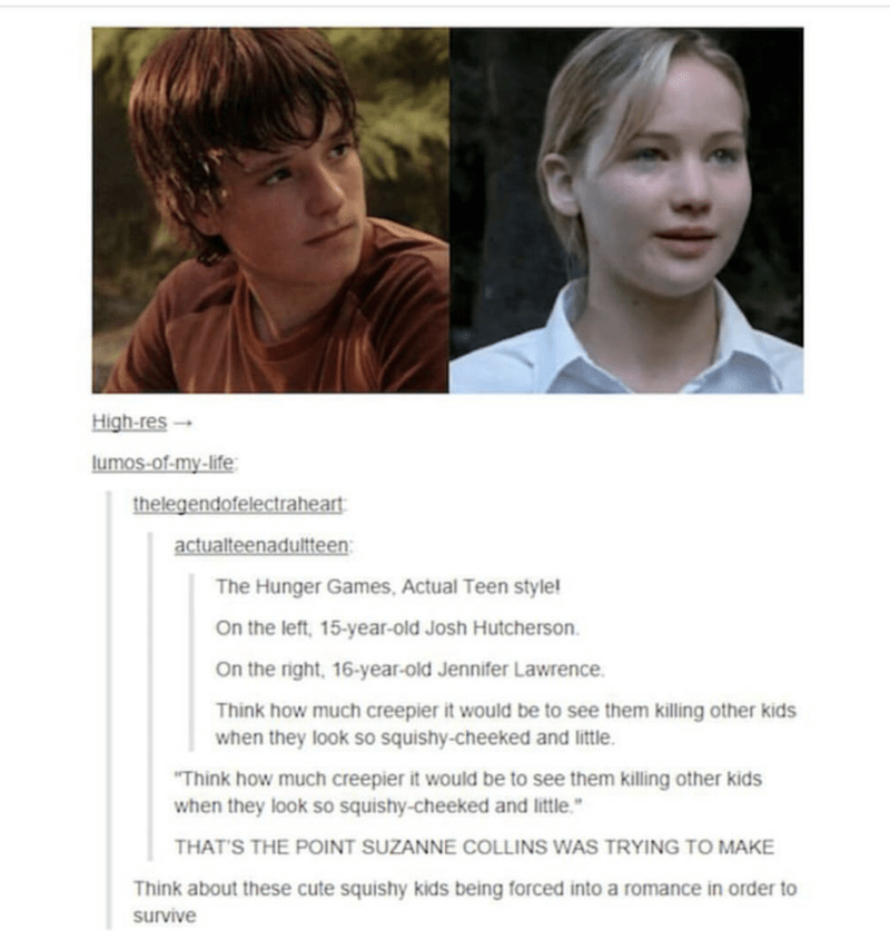 Meme of some strange takes on The Hunger Games