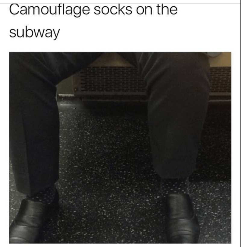 Awesome pic of a camouflaged sock on the subway