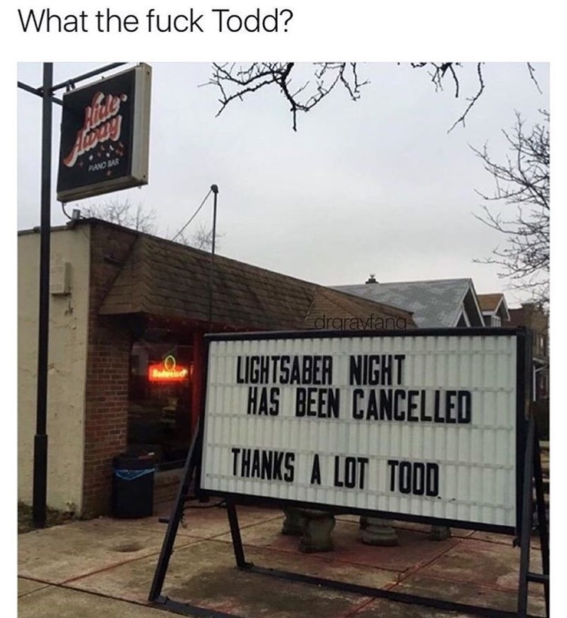 Funny meme about a bar with a light saber night.