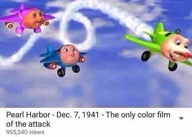 dank meme - Animated cartoon - Pearl Harbor Dec. 7, 1941 The only color film of the attack 955,540 views
