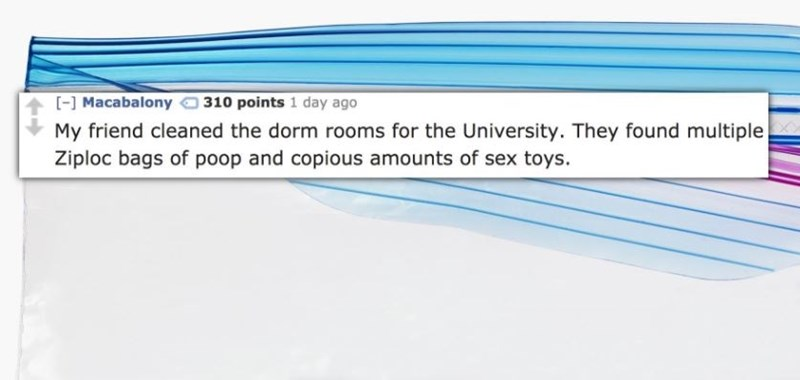 Text - [ Macabalony 310 points 1 day ago My friend cleaned the dorm rooms for the University. They found multiple Ziploc bags of poop and copious amounts of sex toys.