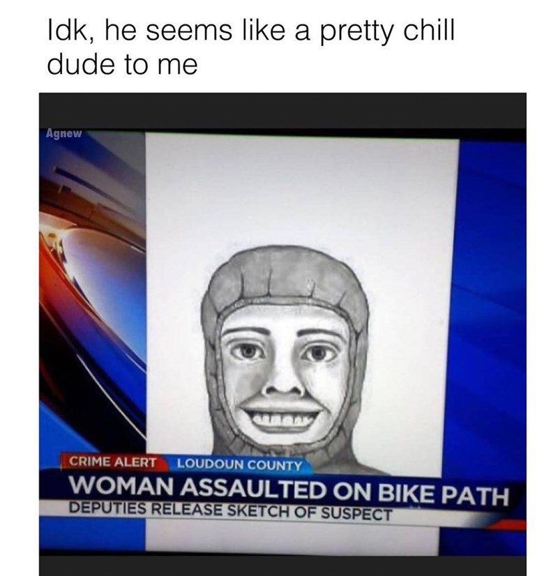 Funny meme about a sketch of a criminal where they look very nice.