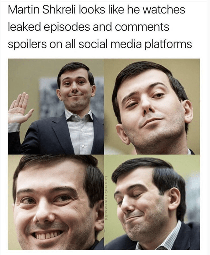 Weekend meme about Martin Shkreli looking like a troll with various pics of him making faces