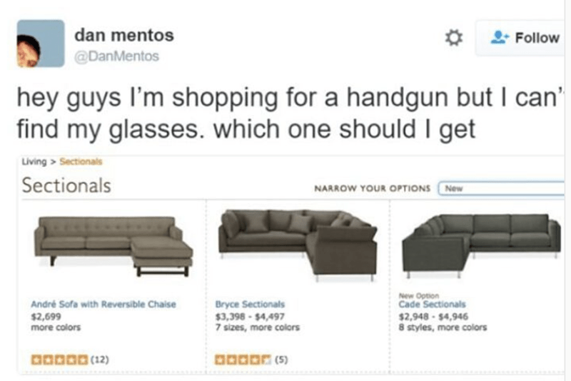 Weekend meme about online shopping for sofas that look like guns from afar