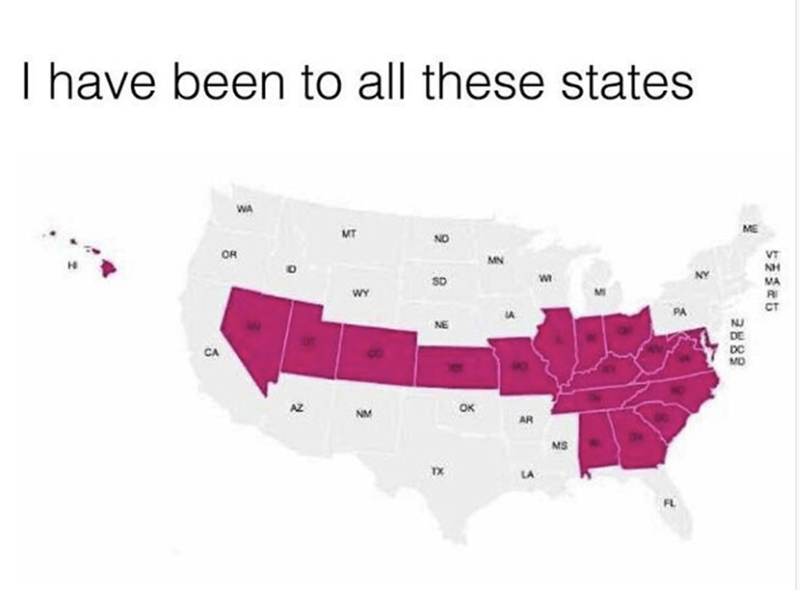 Weekend meme about visiting states in the US that make up the shape of a penis on a map