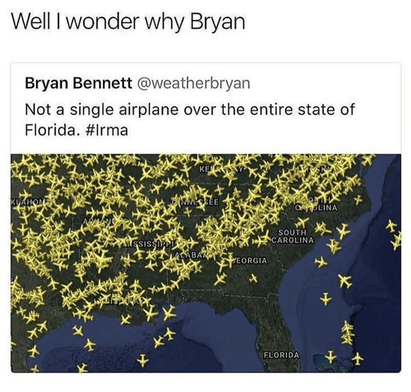 Weekend meme about a tweet pointing out there was no aircraft traffic during a hurricane
