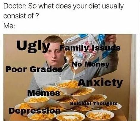 Weekend meme about living off a diet of terrible mental state with pic of guy pouring milk into several cereal bowls