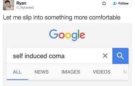 Weekend meme about purposely slipping into a coma
