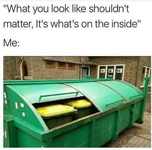 Funny meme with trash cans inside a dumpster to desscribe someones personality/appearance.