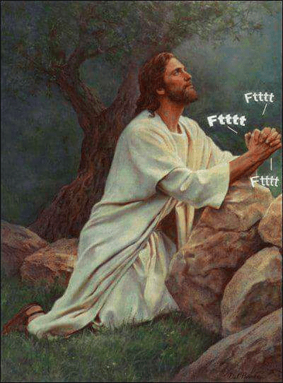 Funny meme about Jesus making fart sounds with his hands.