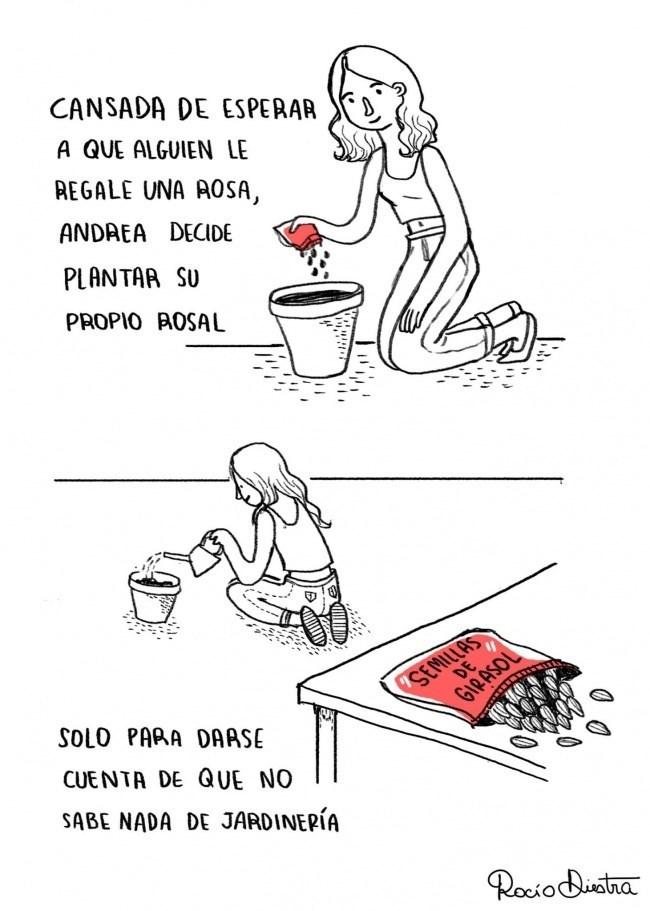 chica cultiva margaritas en lugar de rosas