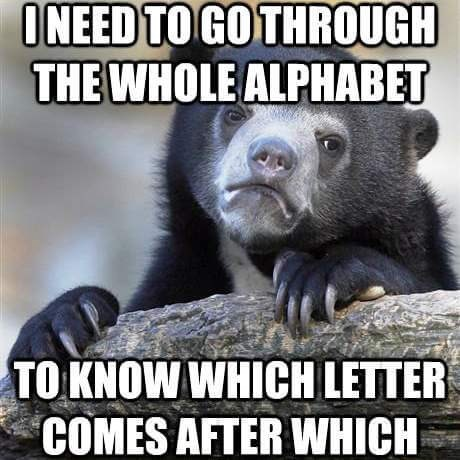 bear confessing to not remembering the alphabet