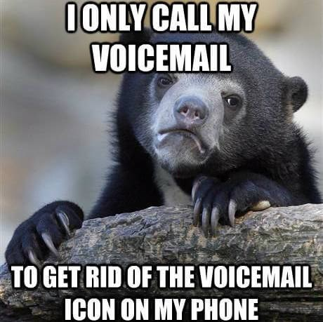 bear confessing to not caring to hear voicemails