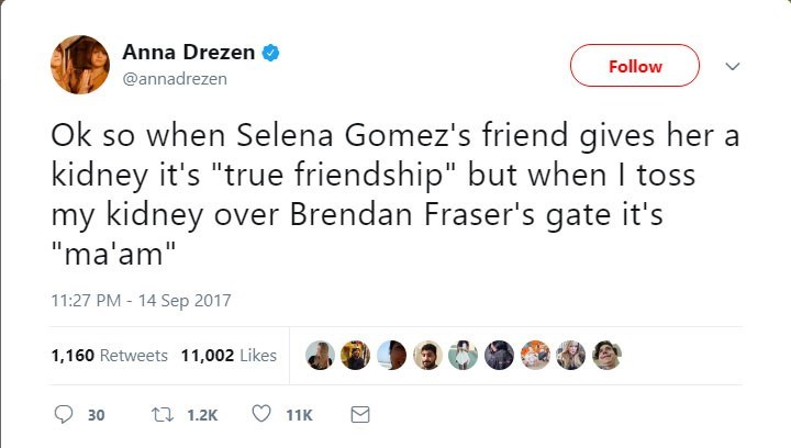 "Text - Anna Drezen Follow @annadrezen when Selena Gomez's friend gives her kidney it's ""true friendship"" but when I toss my kidney over Brendan Fraser's gate it's ""ma'am"" 11:27 PM 14 Sep 2017 1,160 Retweets 11,002 Likes t1.2K 30 11K"