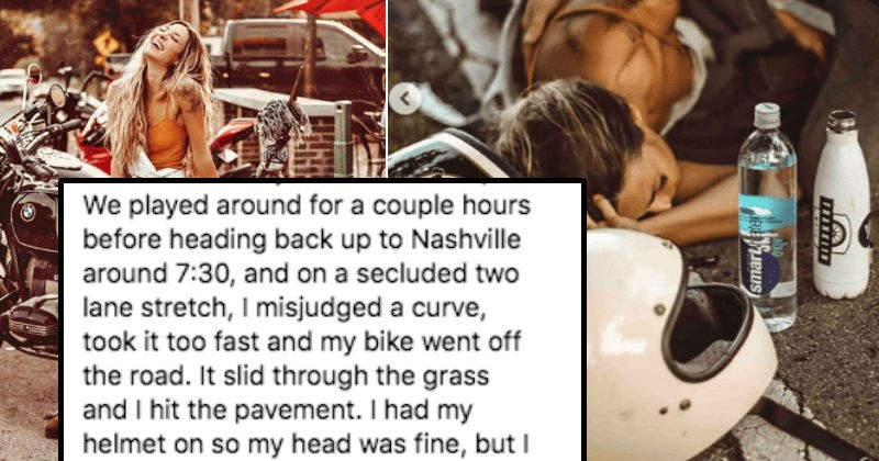 Instagram influencer denies accusations that she staged a motorcycle accident to promote bottled water.